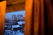 A view of Yekaterinburg (Ekaterinburg) city from the window of a train travelling across Russia.