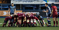 Cardiff Blues' Lloyd Williams waits to put in at the scrum<br /> <br /> Photographer Simon King/Replay Images<br /> <br /> Guinness PRO14 Round 15 - Cardiff Blues v Munster - Saturday 17th February 2018 - Cardiff Arms Park - Cardiff<br /> <br /> World Copyright &copy; Replay Images . All rights reserved. info@replayimages.co.uk - http://replayimages.co.uk