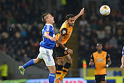 Christophe Berra of Ipswich Town and Hull City midfielder Ahmed Elmohamady go for the ball during the Sky Bet Championship match between Hull City and Ipswich Town at the KC Stadium, Kingston upon Hull, England on 20 October 2015. Photo by Ian Lyall.