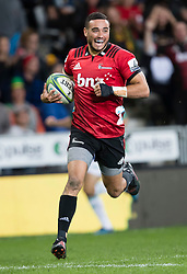 Crusaders' Bryn Hall runs in to score a try against the Highlanders in the Super Rugby match, Forsyth Barr Stadium, Dunedin, New Zealand, Saturday, March 17, 2018. Credit:SNPA / Adam Binns ** NO ARCHIVING**
