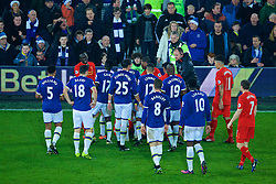LIVERPOOL, ENGLAND - Monday, December 19, 2016: Everton and Liverpool players clash after a late tackle on captain Jordan Henderson during game against Everton during the FA Premier League match, the 227th Merseyside Derby, at Goodison Park. (Pic by Gavin Trafford/Propaganda)