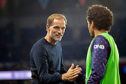 Thomas TUCHEL (PSG) greated Marcos Aoas Correa, Marquinhos (PSG) during the French Championship Ligue 1 football match between Paris Saint-Germain and AS Saint-Etienne on September 14, 2018 at Parc des Princes stadium in Paris, France - Photo Stephane Allaman / ProSportsImages / DPPI