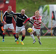 Dundee&rsquo;s James Vincent and Hamilton&rsquo;s Ali Crawford - Hamilton Academical v Dundee in the Ladbrokes Scottish Premiership at the SuperSeal Stadium, Hamilton, Photo: David Young<br /> <br />  - &copy; David Young - www.davidyoungphoto.co.uk - email: davidyoungphoto@gmail.com