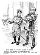 """How the Bad News Came to Rome. King of Italy. """"This ought to amuse your Excellency."""" Signor Mussolini (confidently). """"It does, sir. Ha, ha! Good enough for 'Pulcinello.'"""" [They read the headline 'Spanish Monarch Dismisses Dictator']"""