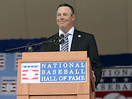COOPERSTOWN, NY - JULY 27:  2014 Baseball Hall of Famer inductee Greg Maddux gives his acceptance speech during the 2014 HOF induction ceremonies held at the Clark Sports Center in Cooperstown, New York on July 27 2014.