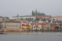 Evening view of Prague over the river Czech Republic
