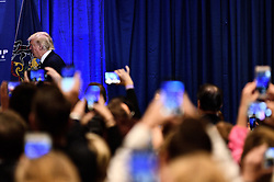 Republican presidential candidate DONALD TRUMP takes the stage to deliver a speech outlining his health care policy at an event with Vice-presidential candidate Mike Pence and former candidate Ben Carson, in King of Prussia, PA., in the Philadelphia Suburbs, on November 1, 2016