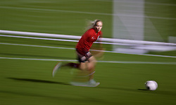 CARDIFF, WALES - Wednesday, January 16, 2019: Wales' Nadia Lawrence during a training session at Dragon Park ahead of the International Friendly game against Italy. (Pic by David Rawcliffe/Propaganda)