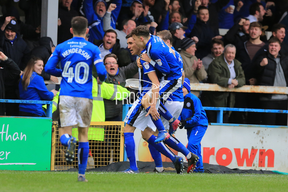 GOAL Matt Lund celebrates scoring to make the score 2-2 during the EFL Sky Bet League 1 match between Rochdale and Sheffield Utd at Spotland, Rochdale, England on 4 March 2017. Photo by Daniel Youngs.