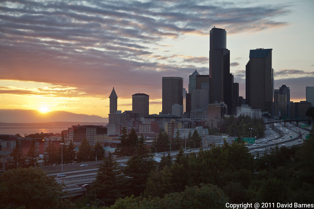 City at sunset with Puget Sound and Olympic Mountains, Seattle Washington, USA