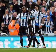 Georginio Wijnaldum (l) of Newcastle United is congratulated on scoring the opening goal during the Barclays Premier League match at St. James's Park, Newcastle<br /> Picture by Simon Moore/Focus Images Ltd 07807 671782<br /> 15/05/2016