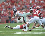 Ole Miss running back Brandon Bolden (34) is tackled at Reynolds Razorback Stadium in Fayetteville, Ark. on Saturday, October 23, 2010.