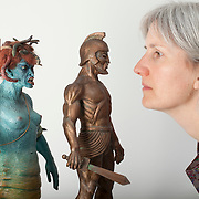 A Curator with Medusa and Thalos, models by Ray Harryhausen.