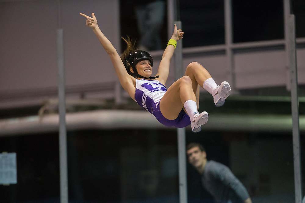 Robin Bone celebrates after clearing a meet record hight in the pole vault at the 2014 Don Wright meet in London Ontario, Saturday,  January 18, 2014.<br /> Mundo Sport Images/ Geoff Robins