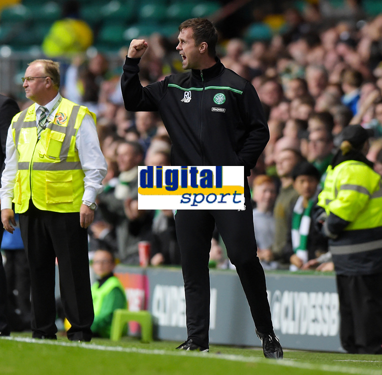 29/07/15 UEFA CHAMPIONS LEAGUE 3RD RND QUALIFIER 1ST LEG<br /> CELTIC v QARABAG FK<br /> CELTIC PARK - GLASGOW<br /> Celtic manager Ronny Deila celebrates as his side go ahead