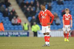 Bristol City's Kieran Agard cuts a dejected figure - Photo mandatory by-line: Dougie Allward/JMP - Mobile: 07966 386802 - 21/02/2015 - SPORT - Football - Colchester - Colchester Community Stadium - Colchester United v Bristol City - Sky Bet League One