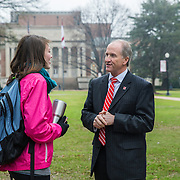 "TUSCALOOSA,AL-JAN15:  Stuart R. Bell, president of the University of Alabama, talks to Katie Smitherman, a student from Franklin, Tennessee, on the quad, January 15, 2016, in Tuscaloosa, AL. The University of Alabama, founded in 1831, once served mainly Alabama students as the state's flagship institution. Now more than 60 percent of entering freshmen come from out of state. The university has had one of the largest shifts toward out-of-state enrollment in the country in the past decade. Bell is upbeat about the growth in out-of-state enrollment at Alabama. ""When students vote with their feet to be at your institution, that's a really great outcome."" (Photo by Evelyn Hockstein/For The Washington Post)"