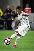 LAFC forward Latif Blessing (7) in action during an MLS soccer match. LAFC defeated the San Jose Earthquakes 4-0 on Wednesday, Aug. 21, 2019, Los Angeles. (Ed Ruvalcaba/Image of Sport)