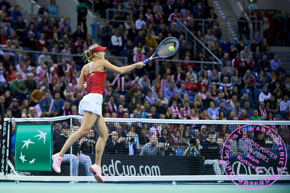 Maria Sharapova from Russia in action during Second Day of the Fed Cup / World Group 1st round tennis match between Poland and Russia at Tauron Krakow Arena on February 8, 2015 in Cracow, Poland.<br /> <br /> Poland, Cracow, February 8, 2015<br /> <br /> Picture also available in RAW (NEF) or TIFF format on special request.<br /> <br /> For editorial use only. Any commercial or promotional use requires permission.<br /> <br /> Adam Nurkiewicz declares that he has no rights to the image of people at the photographs of his authorship.<br /> <br /> Mandatory credit:<br /> Photo by &copy; Adam Nurkiewicz / Mediasport