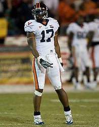 Virginia safety Brandon Woods (17)..The #19 Virginia Cavaliers defeated the Miami Hurricanes 48-0 at the Orange Bowl in Miami, Florida on November 10, 2007.  The game was the final game played in the Orange Bowl.