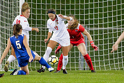 NORMAL, IL - October 17:  Katie Wells, Ashley Santos, Emily Adelman, Haley Smith during an NCAA Missouri Valley Conference (MVC)  women's soccer match between the Indiana State Sycamores and the Illinois State Redbirds October 17 2018 on Adelaide Street Field in Normal IL (Photo by Alan Look)