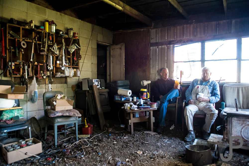 Westville, OK - Bud Rose, owner of the Buffington Hotel in Westivlle, Oklahoma shows Bill and Susan Dragoo around the upstairs portion of the dilapidated hotel. This hotel is on the National Register of Historic Places.
