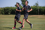 Forest Green Rovers Christian Doidge and Fabian Robert during the first day back at training for Forest Green Rovers at the New Lawn, Forest Green, United Kingdom on 2 July 2018. Picture by Shane Healey.