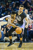 MEMPHIS, TN - DECEMBER 10:  Stephen Curry #30 of the Golden State Warriors playing defense against Andrew Harrison #5 of the Memphis Grizzlies at the FedExForum on December 10, 2016 in Memphis, Tennessee.  The Grizzlies defeated the Warriors 110-89.  NOTE TO USER: User expressly acknowledges and agrees that, by downloading and or using this photograph, User is consenting to the terms and conditions of the Getty Images License Agreement.  (Photo by Wesley Hitt/Getty Images) *** Local Caption *** Stephen Curry; Andrew Harrison