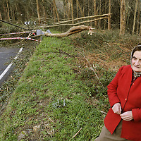 A woman walks next to fallen trees in Sollube high, in the northern Spanish village of Bermeo, on January 24, 2009. High winds lashed Spain and France Today, killing a Spanish policeman and knocking out power to over a million homes in southwest France, as well as disrupting air and rail traffic.