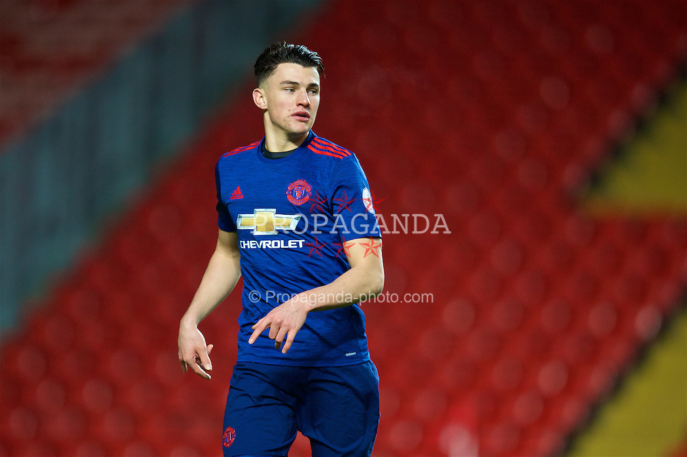 LIVERPOOL, ENGLAND - Monday, January 16, 2017: Manchester United's Regan Poole in action against Liverpool during FA Premier League 2 Division 1 Under-23 match at Anfield. (Pic by David Rawcliffe/Propaganda)