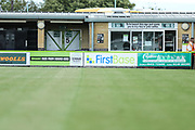 Advertising boards in front of the North Stand during the EFL Sky Bet League 2 match between Forest Green Rovers and Grimsby Town FC at the New Lawn, Forest Green, United Kingdom on 17 August 2019.