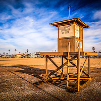 Newport Beach lifeguard tower 10 HDR photo. Lifeguard tower #10 is located on 10th Street on Balboa Peninsula in Newport Beach, Orange County, California.