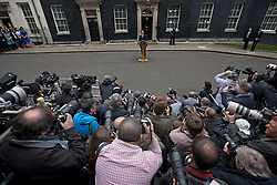 © London News Pictures. 08/05/2015. British prime minister DAVID CAMERON delivers a speech in front of the media after visiting the Queen and forming a majority government. Photo credit: Ben Cawthra/LNP