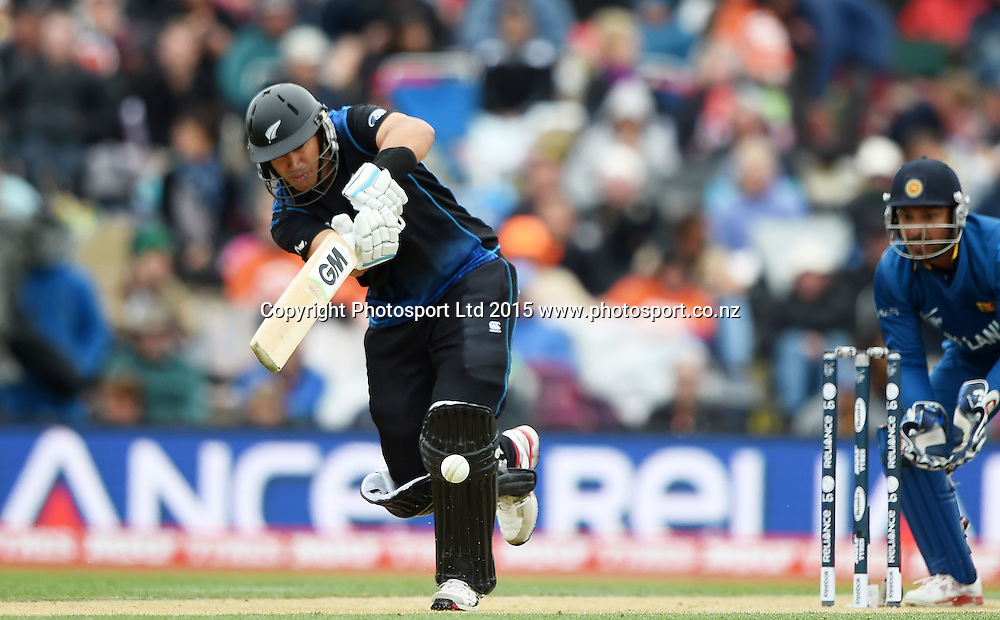 Ross Taylor batting during the ICC Cricket World Cup match between New Zealand and Sri Lanka at Hagley Oval in Christchurch, New Zealand. Saturday 14 February 2015. Copyright Photo: Andrew Cornaga / www.Photosport.co.nz