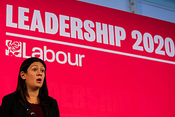 © Licensed to London News Pictures. 16/02/2020. London, UK. Labour leadership candidate LISA NANDY MP for Wigan speaks at a hustings event hosted by the Co-operative Party held at Business Design Centre, north London. Photo credit: Dinendra Haria/LNP