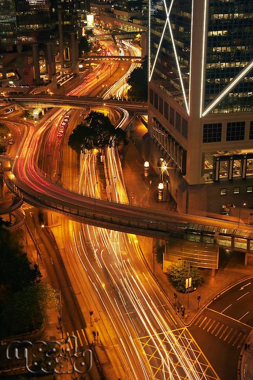 China  Hong Kong Blurred traffic at night