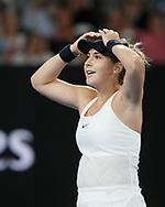 BELINDA BENCIC (SUI) jubelt nach ihrem Sieg, Jubel,Freude,Emotion,<br /> <br /> Tennis - Australian Open 2018 - Grand Slam / ATP / WTA -  Melbourne  Park - Melbourne - Victoria - Australia  - 15 January 2018.