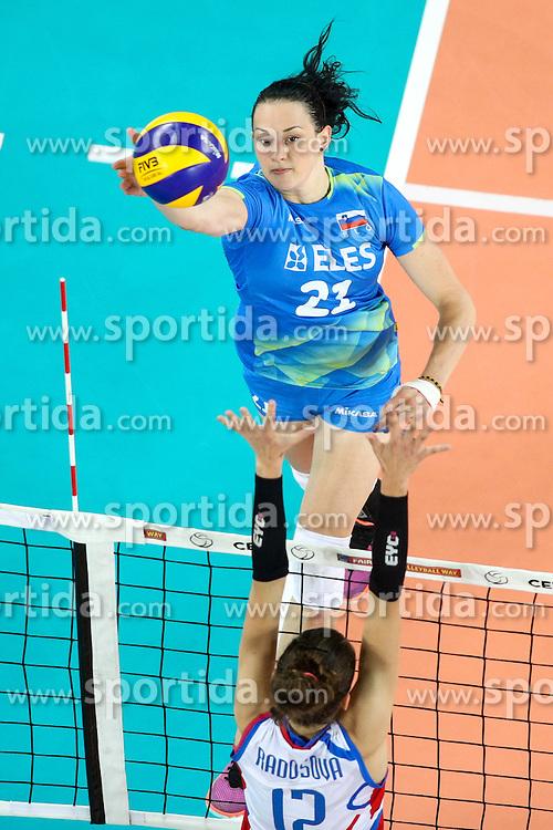 Tina Grudina of Slovenia during volleyball match between Slovenia and Slovakia in CEV European League Women on June 22, 2016 in Stozice, Ljubljana, Slovenia. Photo by Morgan Kristan / Sportida