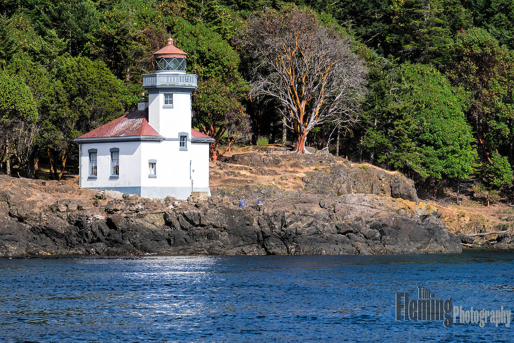 Lime Kiln Light, on San Juan Island, Washington, guides ships though the Haro Straits and is a part of Lime Kiln State Park.