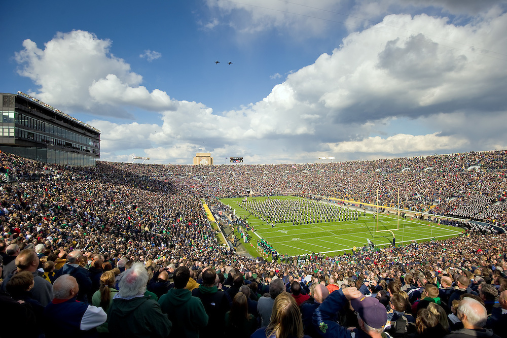 Two Navy F-18s fly over Notre Dame Stadium during the National Anthem.