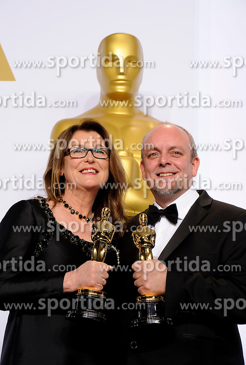 Frances Hannon (L) and Mark Coulie pose after winning the Best Makeup and Hairstyling award for &quot;The Grand Budapest Hotel&quot; during the 87th Academy Awards at the Dolby Theater in Los Angeles, the United States, on Feb. 22, 2015. EXPA Pictures &copy; 2015, PhotoCredit: EXPA/ Photoshot/ Yang Lei<br /> <br /> *****ATTENTION - for AUT, SLO, CRO, SRB, BIH, MAZ only*****