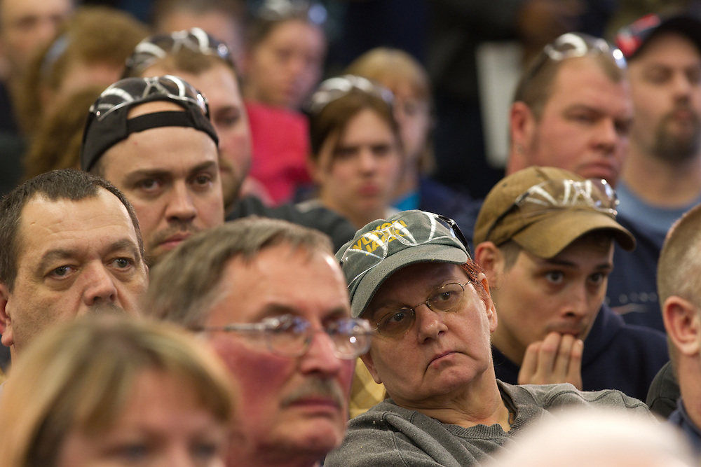 NEWPORT, NH - JANUARY 06:   Employees at the Ruger Firearms manufacturing facility in Newport, New Hampshire listen as Republican presidential candidate and former House Speaker Newt Gingrich campaigns on January 06, 2012. After finishing 4th in the Iowa Caucus, Gingrich continued his campaign in New Hampshire for the upcoming primary. (Photo by Matthew Cavanaugh/Getty Images)