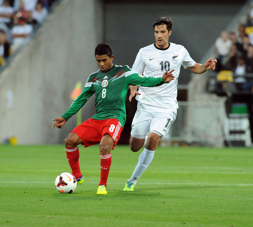 Mexico's Juan Carlos Medina plays in front of New Zealand's Rory Fallon in the World Cup Football qualifier, Westpac Stadium, Wellington, New Zealand, Wednesday, November 20, 2013. Credit:SNPA / Ross Setford