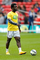 Wilfried Bony of Swansea City wears a tshirt during the warm up in support of KickItOut, the campaign tackling racism and discrimination in football - Photo mandatory by-line: Rogan Thomson/JMP - 07966 386802 - 27/08/2014 - SPORT - FOOTBALL - Sunderland, England - Stadium of Light - Sunderland v Swansea City - Barclays Premier League.