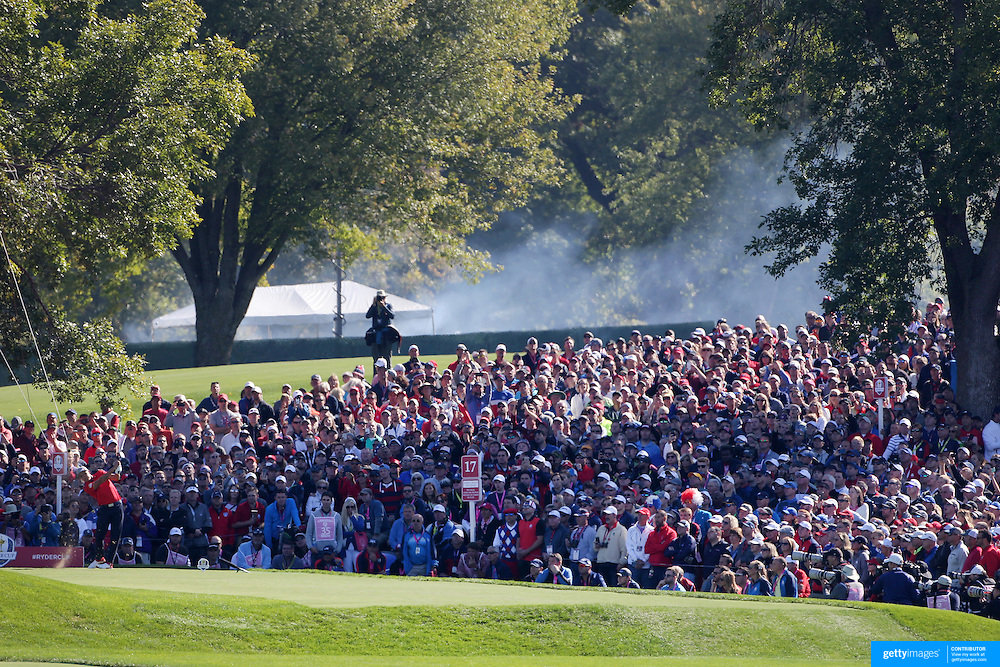 Ryder Cup 2016. Day One. Rickie Fowler of the United States tees off tees off on the seventeenth in the Friday morning foursomes during the Ryder Cup competition at the Hazeltine National Golf Club on September 30, 2016 in Chaska, Minnesota.  (Photo by Tim Clayton/Corbis via Getty Images)