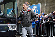 Arsenal defender Hector Bellerin (24) arrives off the coach before the Premier League match between Brighton and Hove Albion and Arsenal at the American Express Community Stadium, Brighton and Hove, England on 4 March 2018. Picture by Phil Duncan.