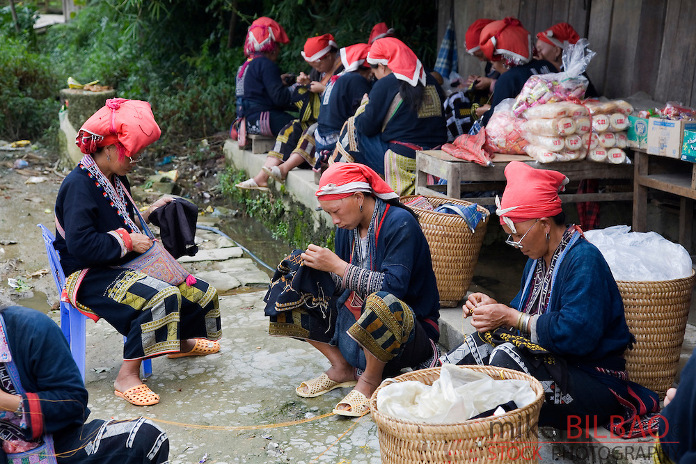 Red Dzao ethnic women in Ta Phin village.<br />