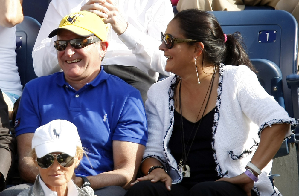 US actor Robin Williams and his wife Marsha sit in the stands prior to the start of the men's final on the last day of the 2007 US Open tennis tournament in Flushing Meadows, New York, USA, 09 September 2007.