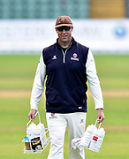 Marcus Trescothick of Somerset carrying the drinks bottles on his last day as a player during the Specsavers County Champ Div 1 match between Somerset County Cricket Club and Essex County Cricket Club at the Cooper Associates County Ground, Taunton, United Kingdom on 26 September 2019.