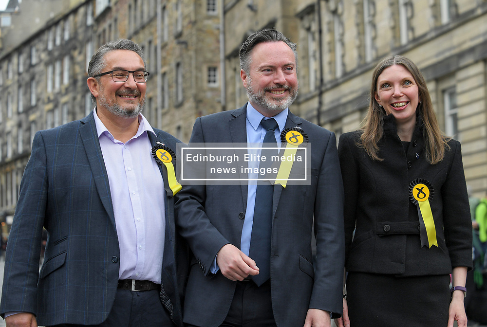 Pictured: New SNP MEP's Christian Allard, Alyn Smith, and Aileen McLeod after the declaration.<br /> <br /> Scotland's results in the European elections were announced at the City Chambers in Edinburgh.<br /> <br /> © Dave Johnston / EEm